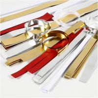Paper Star Strips, L: 44+78 cm, W: 10+15+25 mm, D: 4,5+6,5+11,5 cm, gold, red, silver, white, 5000 strips/ 1 asstd.
