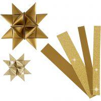Paper Star Strips, L: 44+78 cm, D: 6,5+11,5 cm, W: 15+25 mm, glitter,varnish, gold, 40 strips/ 1 pack