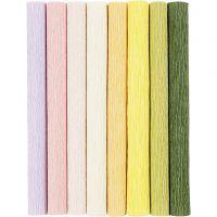 Crepe Paper, 25x60 cm, Crêpe ratio: 180%, 105 g, pastel colours, 8 sheet/ 1 pack