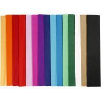 Crepe Paper, L: 2,5 m, W: 50 cm, 22 g, assorted colours, 60 pleats/ 1 pack
