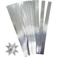 Paper Star Strips, L: 45 cm, D: 6,5 cm, W: 15 mm, silver, 100 strips/ 1 pack