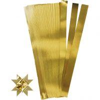 Paper Star Strips, L: 45 cm, D: 6,5 cm, W: 15 mm, gold, 100 strips/ 1 pack