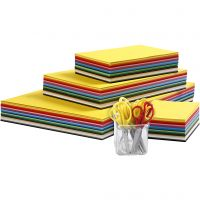 Coloured Kraft Card and Kids Scissors Set, A3,A4,A5,A6, 180 g, assorted colours, 1 set