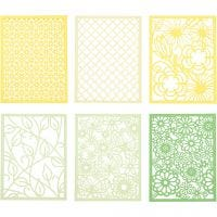 Pad with Cardboard Lace Patterns, A6, 104x146 mm, 200 g, green, light green, yellow, light yellow, 24 pc/ 1 pack