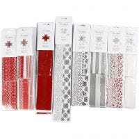 Paper Star Strips, L: 45+86+100 cm, D: 6,5+11,5+18 cm, W: 15+25+40 mm, black, red, silver, white, 18 pack/ 1 pack