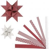 Paper Star Strips, L: 44+78 cm, D: 6,5+11,5 cm, W: 15+25 mm, red, white, 60 strips/ 1 pack