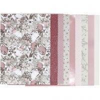 Design Paper pad, size 21x30 cm, 120+128 g, beige, brown, rose, white, 24 sheet/ 1 pack