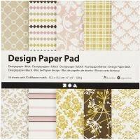 Design Paper Pad, 15,2x15,2 cm, 120 g, green, rose, 50 sheet/ 1 pack