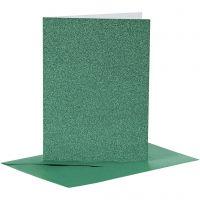 Cards and Envelopes, card size 10,5x15 cm, envelope size 11,5x16,5 cm, glitter, 110+250 g, green, 4 set/ 1 pack