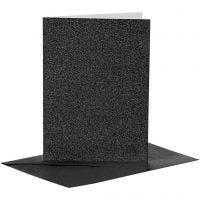 Cards and Envelopes, card size 10,5x15 cm, envelope size 11,5x16,5 cm, glitter, 110+250 g, black, 4 set/ 1 pack