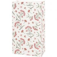 Paper Bag, flowers, H: 21 cm, size 6x12 cm, 80 g, 10 pc/ 1 pack