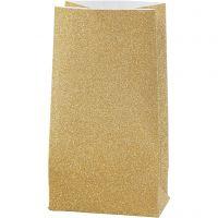 Paper Bag, H: 17 cm, size 6x9 cm, 170 g, gold, 8 pc/ 1 pack