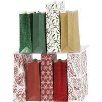 Paper Bag, H: 21 cm, size 6x12 cm, 80 g, 9x10 pack/ 1 pack