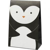 Paper Bag, penguin, H: 18 cm, size 6x12 cm, 80 g, black/white, 6 pc/ 1 pack