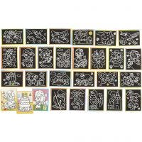 Scratch Pictures, size 9x12 cm, 96 asstd./ 1 pack