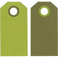 Manila Tags, size 6x3 cm, 250 g, lime green/dark green, 20 pc/ 1 pack