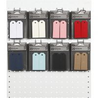 Manila Tags, size 3x8 cm, 220 g, assorted colours, 8x10 pack/ 1 pack