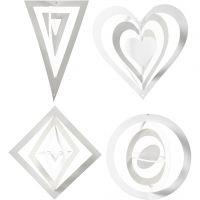 3D Hanging Decoration, H: 18+22+24 cm, W: 15+18+22 cm, 230 g, white, 16 pc/ 1 pack