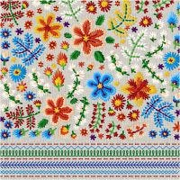 Table Napkins, Embroidery, size 33x33 cm, 20 pc/ 1 pack