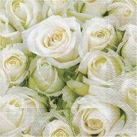 Table Napkins, White roses, size 33x33 cm, 20 pc/ 1 pack