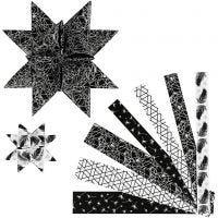 Paper Star Strips, L: 44+78 cm, D: 6,5+11,5 cm, W: 15+25 mm, black, silver, 48 strips/ 1 pack
