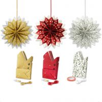 Paper Bag Star, gold, green, red, white, 3x10 pack/ 1 pack