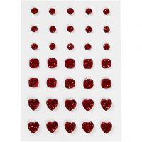 Rhinestones, round, square, heart, size 6+8+10 mm, red, 35 pc/ 1 pack