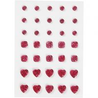 Rhinestones, round, square, heart, size 6+8+10 mm, pink, 35 pc/ 1 pack
