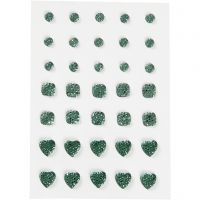 Rhinestones, round, square, heart, size 6+8+10 mm, green, 35 pc/ 1 pack