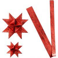Paper star strips, L: 44+78 cm, D: 6,5+11,5 cm, W: 15+25 mm, red, 32 strips/ 1 pack