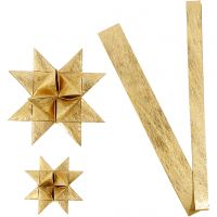 Paper star strips, L: 44+78 cm, D: 6,5+11,5 cm, W: 15+25 mm, gold, 32 strips/ 1 pack