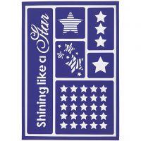 Flexible Stencil , shining like a star, 21x14,8 cm, 1 pc