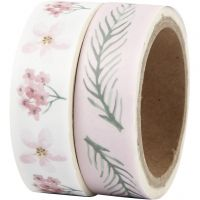 Washi Tape, flower, W: 15 mm, 2x5 m/ 1 pack