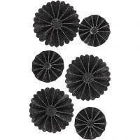 Paper Rosettes, D: 35+50 mm, black glitter, 6 pc/ 1 pack