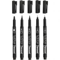 Permanent Markers, line 2x0,6+2x0,8+1,3 mm, black, 5 pc/ 1 pack