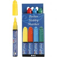 Poster Hobby Marker, line 3 mm, blue, green, red, yellow, 4 pc/ 1 pack