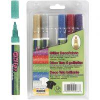 Deco Textile Markers, line 3 mm, glitter colours, 6 pc/ 1 pack