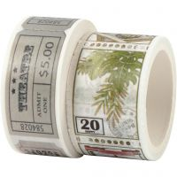 Washi Tape, Ticket and nature motive, L: 3+5 m, W: 20+25 mm, 2 roll/ 1 pack