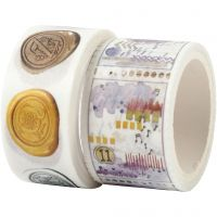 Washi Tape, Snail and landscape motive, L: 3+5 m, W: 20+25 mm, 2 roll/ 1 pack