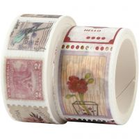 Washi Tape, Stamp and flower motive, L: 3+5 m, W: 20+25 mm, 2 roll/ 1 pack