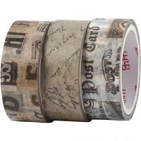 Washi Tape, Letter correspondence, L: 5 m, W: 15 mm, 3 roll/ 1 pack