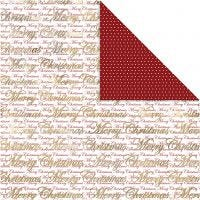 Design Paper, Merry Christmas and dots, 30,5x30,5 cm, 180 g, gold, 3 sheet/ 1 pack