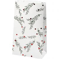 Paper Bag, spruce branch with christmas balls, H: 21 cm, size 6x12 cm, green, metallic red, white, 8 pc/ 1 pack