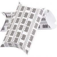Pillow box, bathhouse, size 23,9x15x6 cm, 300 g, black, white, 3 pc/ 1 pack