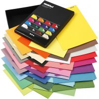 Color Bar Card, A4, 210x297 mm, 250 g, assorted colours, 16x10 sheet/ 1 pack