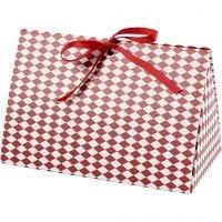 Folding gift box, harlequin pattern, size 15x7x8 cm, 250 g, red, white, 3 pc/ 1 pack