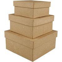 Square Boxes, H: 5+6+7,5 cm, size 10+12,5+15 cm, 3 pc/ 1 set