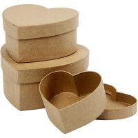 Heart Boxes, H: 5+6,5+7,5 cm, D: 10+12,5+15 cm, 3 pc/ 1 set