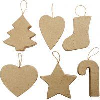 Christmas Ornaments, H: 7+8 cm, 6 pc/ 1 pack