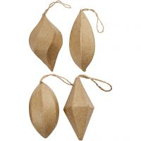 Ornaments, H: 7+8 cm, 4 pc/ 1 pack